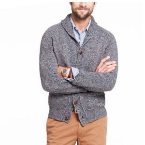 J. Crew Men's Donegal Shawl Cardigan Gray Sweater